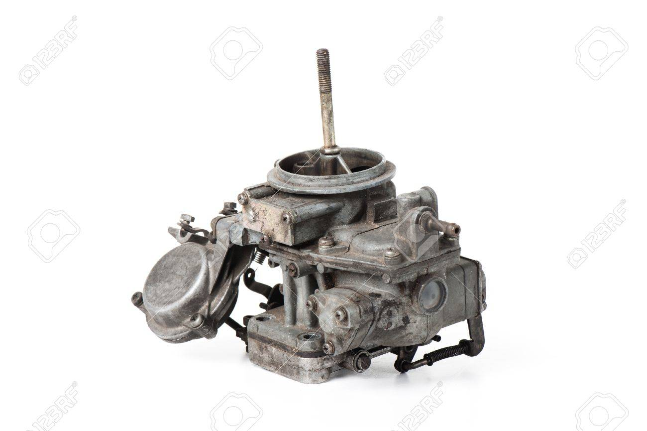 closeup details of old and dirty carburetor