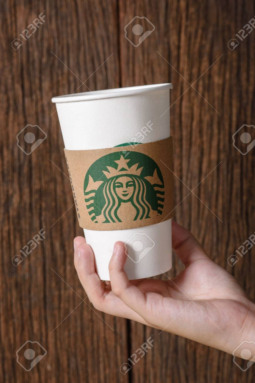 Bangkok Thailand March 17 2015 White Paper Cup With Starbucks
