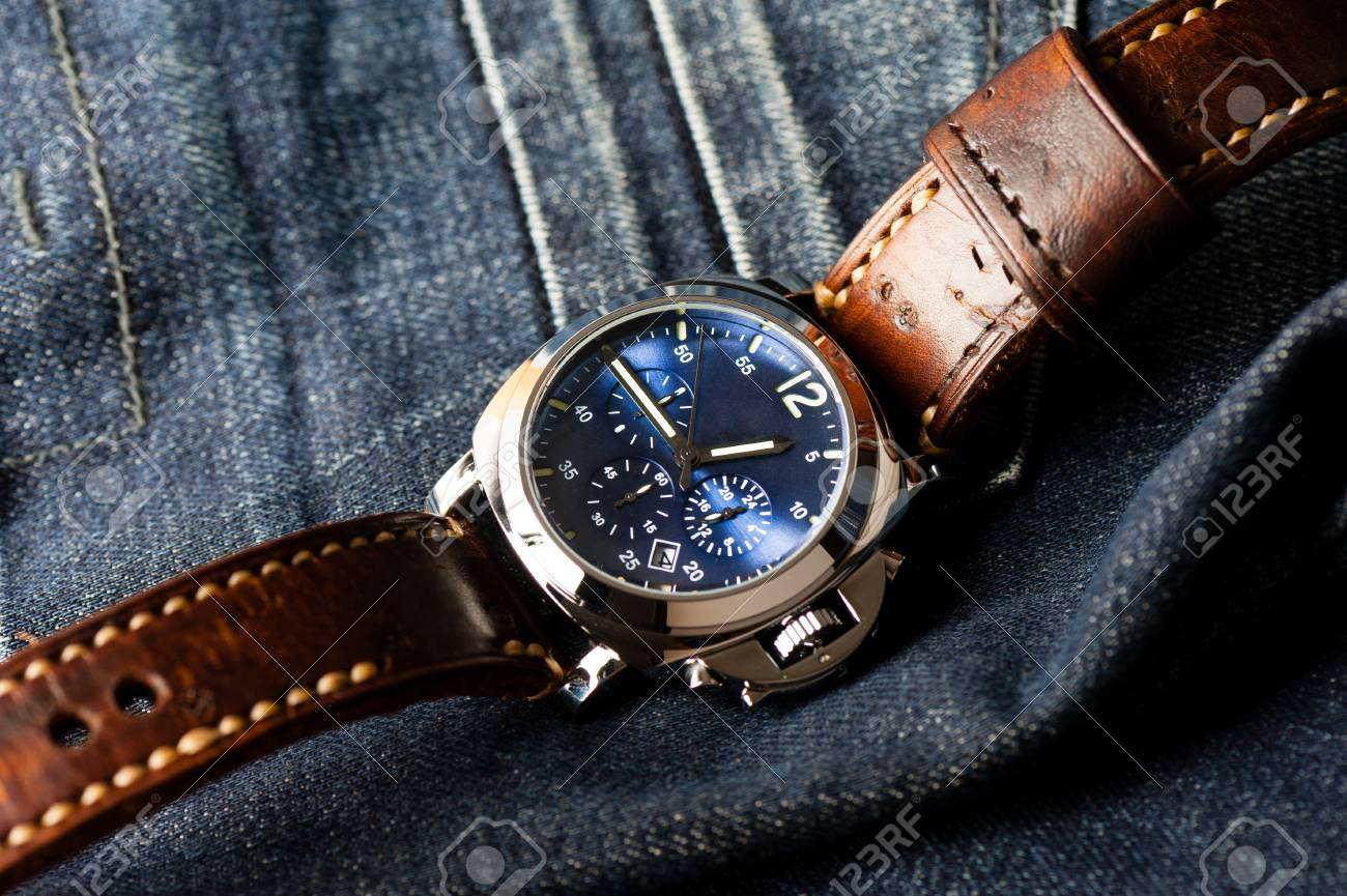 e4268f101 luxury fashion watch with blue dial and brown leather watch band (ammo  style watch strap