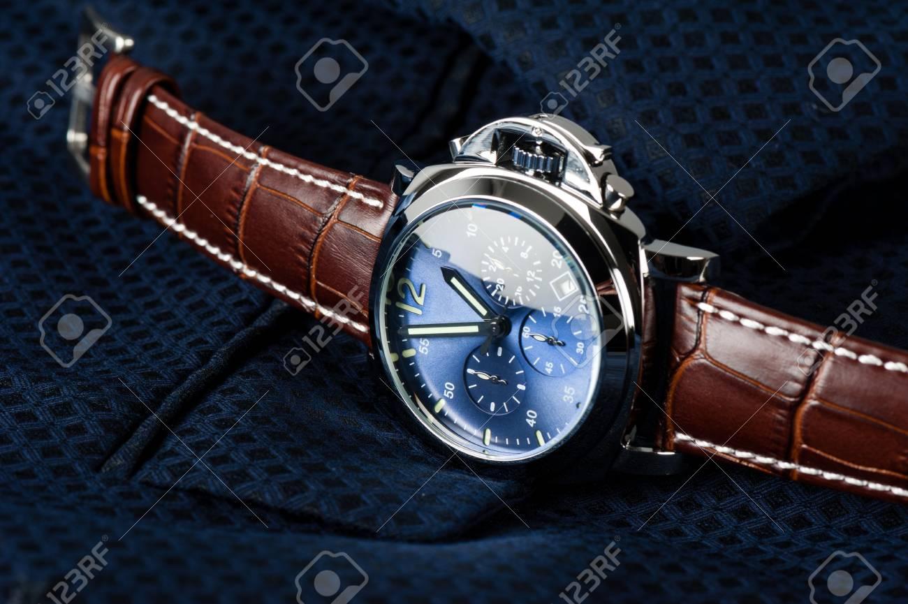 De Marrón Lujo Reloj Esfera Azul Y Cuero Con Correa Cocodrilo Moda TFcl1JK3
