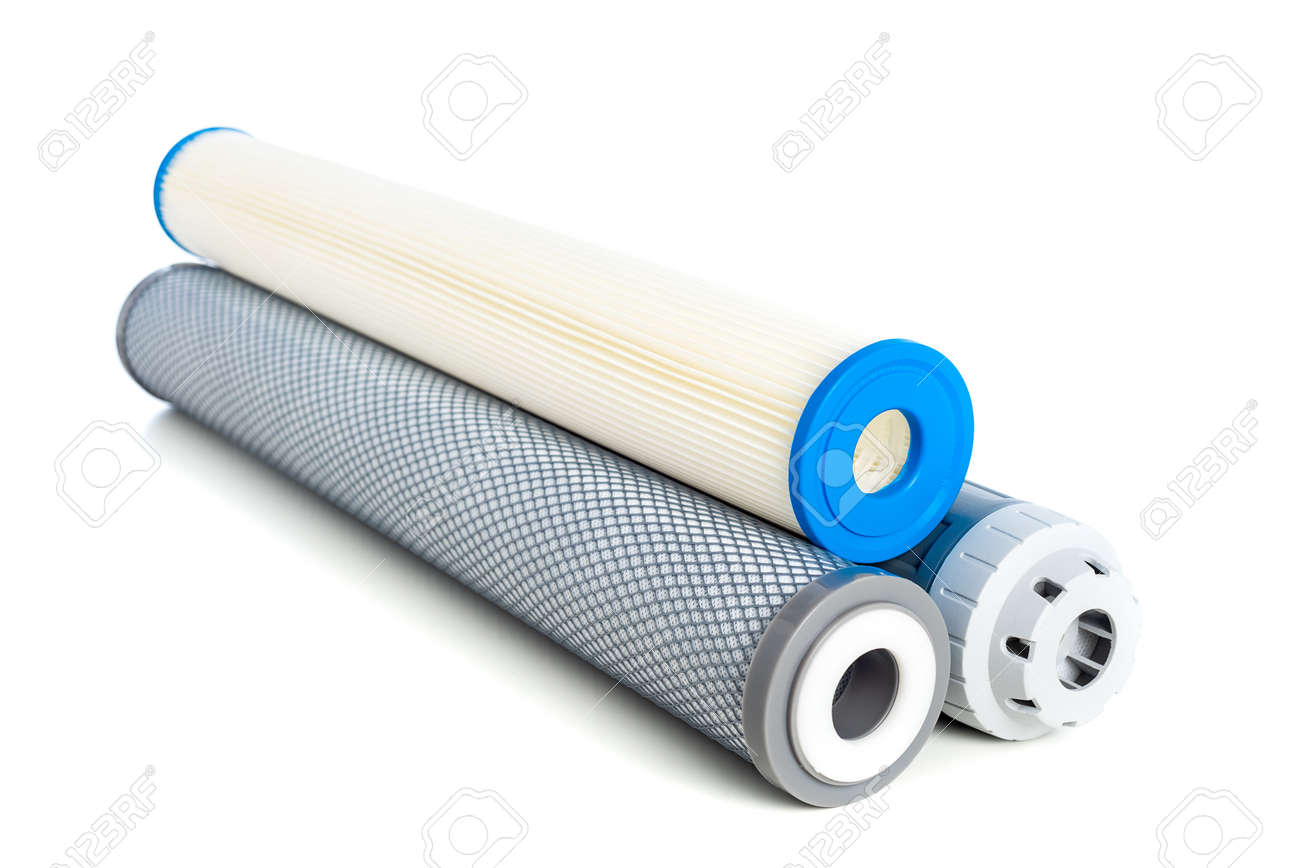 Cartridge for water purifier system isolated over white background. Home water purifier system. - 150788485