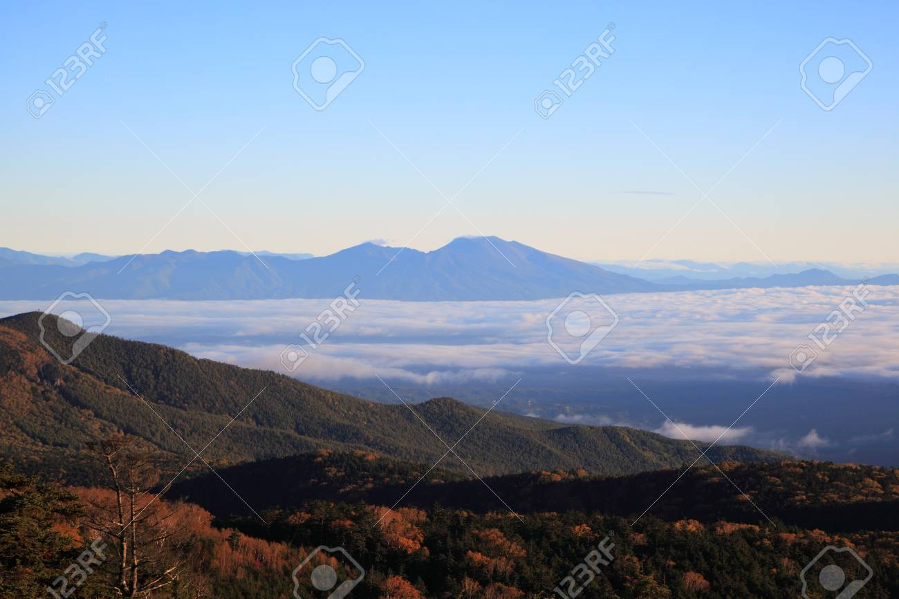 Misty Mountain at morning, Mt. Asama, Nagano, Japan Stock Photo - 23219986