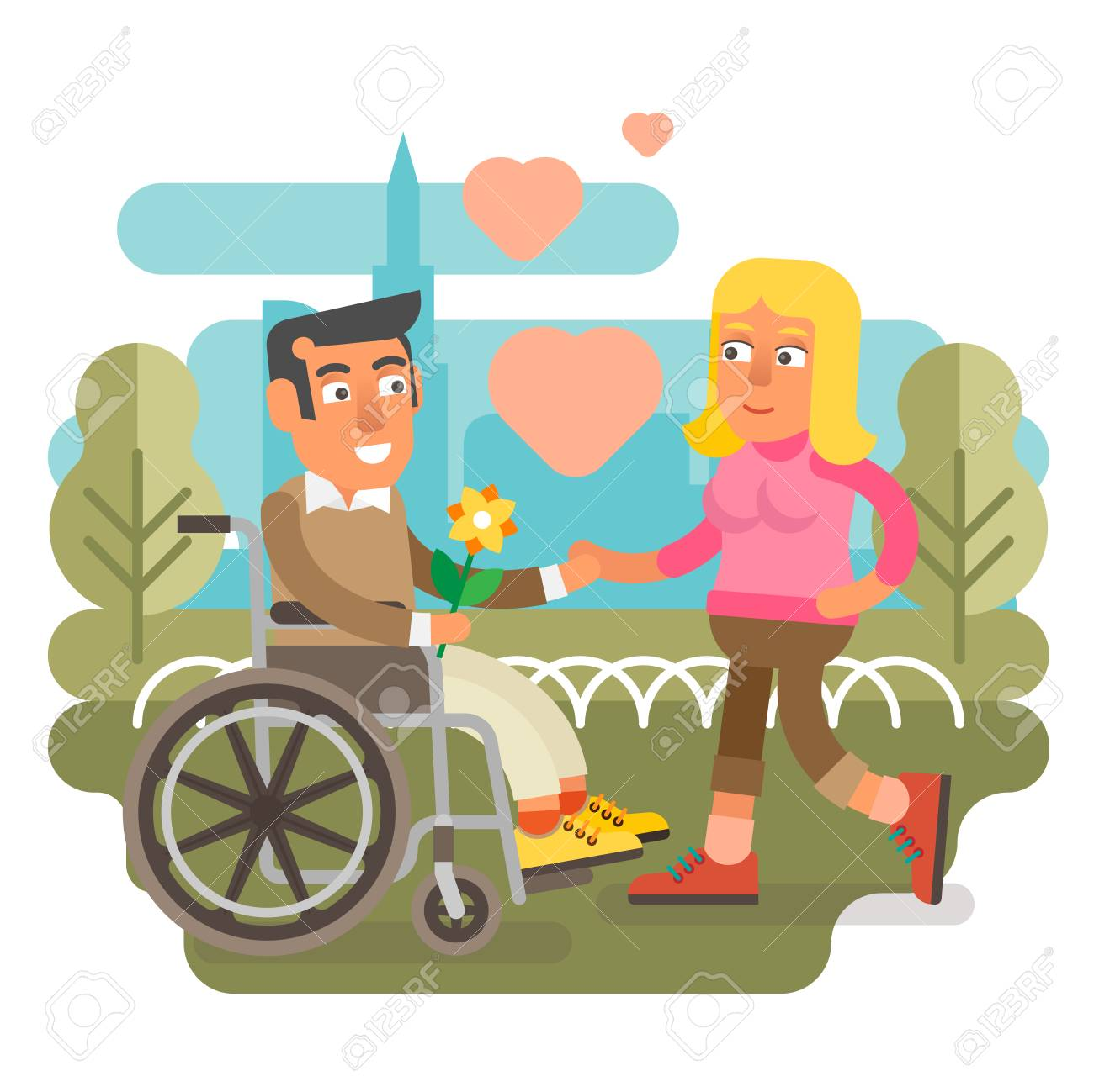 Differently disabled male on wheelchair dating woman. - 87917192