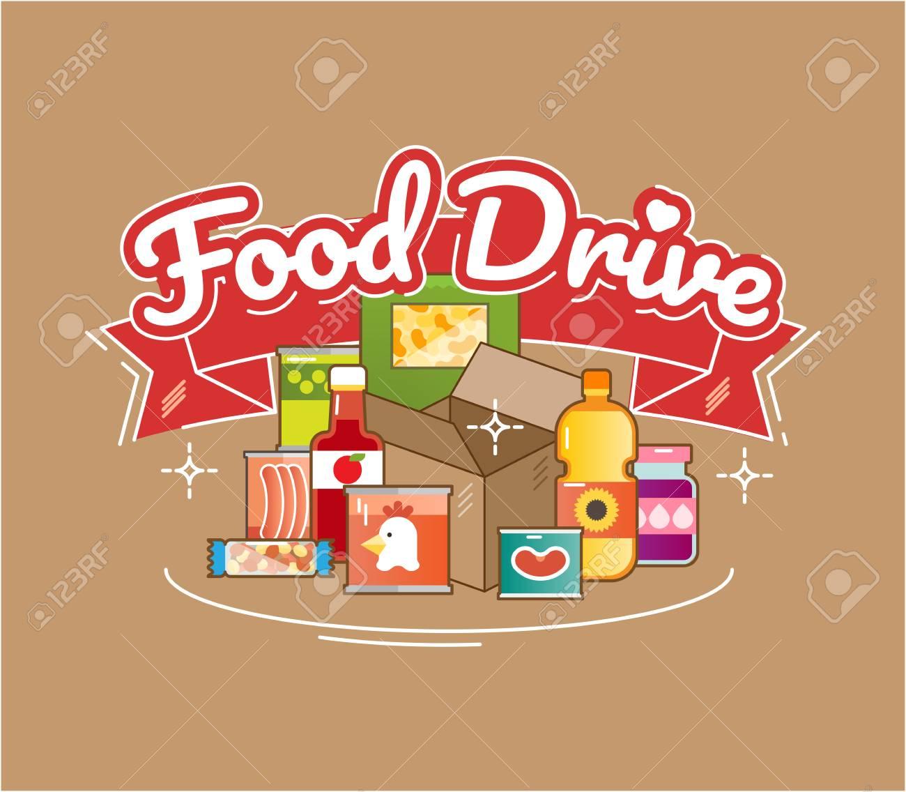 Food Drive non perishable food charity movement, vector badge logo illustration - 93650262
