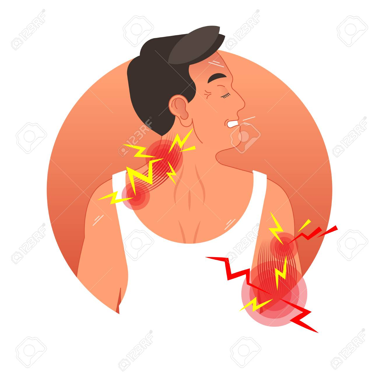 Image result for muscle pain cartoon