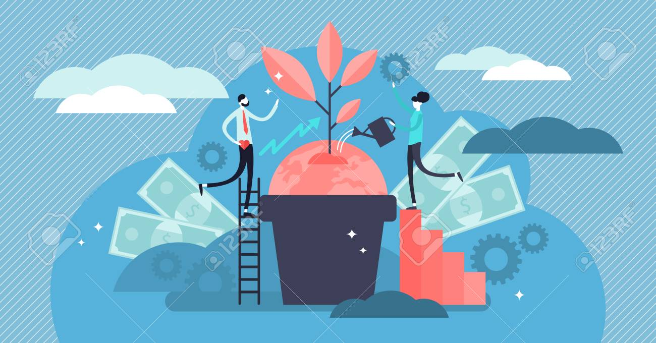Business social responsibility vector illustration. Flat tiny ethical and honest persons concept. Symbolic corporate strategy for sustainable and fair rights organization management or CSR teamwork. - 121670842