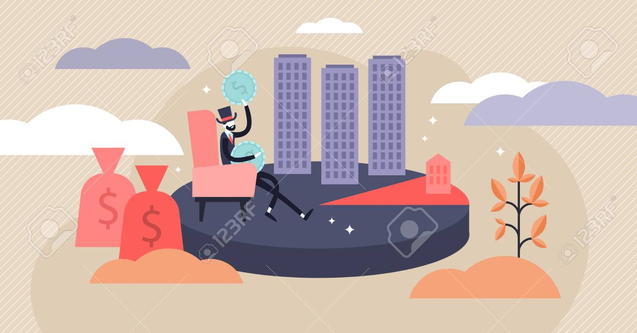 Monopoly vector illustration. Flat tiny rich particular commodity person concept. Wealth and power symbolic banking character. Abstract economy term visualization with greedy investor or single seller - 121670985