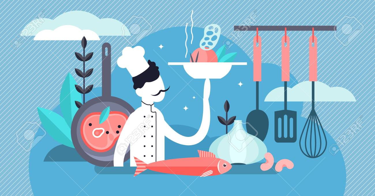 Chef vector illustration. Flat tiny professional cooking occupation persons concept. Work and job in kitchen with dishes, tasty fresh food and healthy culinary. Gourmet cook with restaurant uniform. - 127453113
