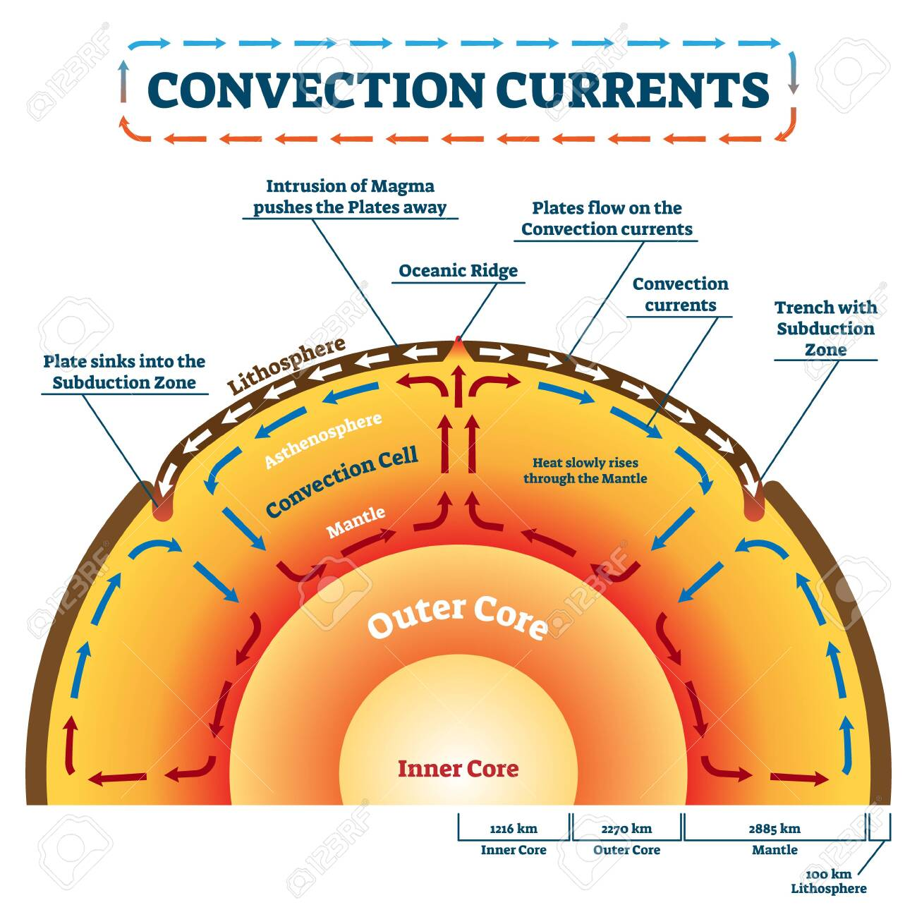 Convection Currents vector illustration. Labeled educational process scheme. Geology land movement and heat transfer by mass motion as molten rock. Lithosphere, ocean ridge and subduction zone example - 130474497
