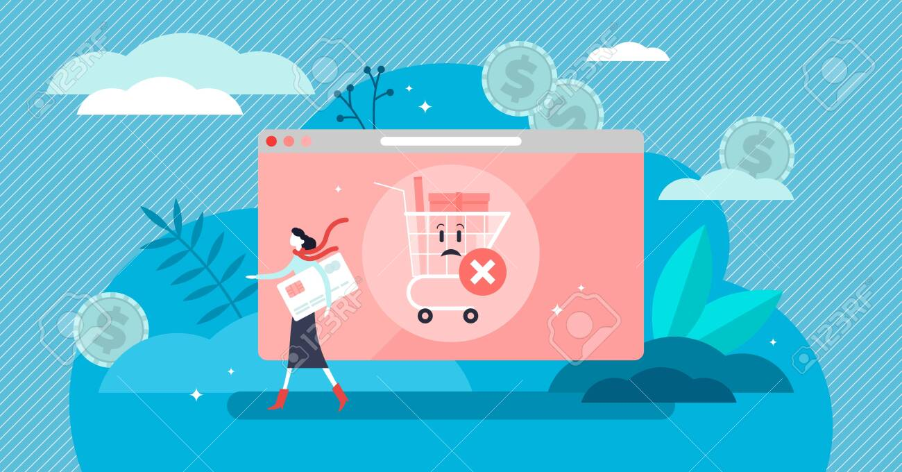 Abandoned card vector illustration. Flat tiny cancel purchase persons concept. Lack of buy motivation scene with left full cart as PIN forgotten or insufficient funds reason. Exit and deny transaction - 145201556