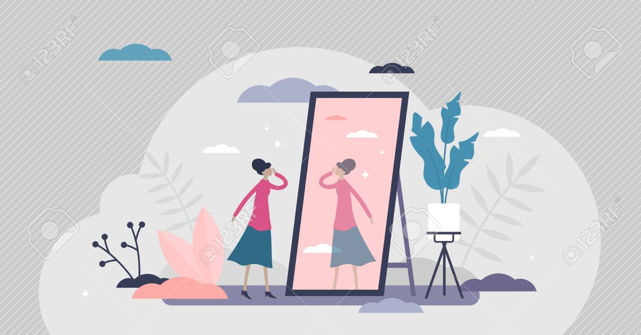 Self absorption concept, flat tiny person vector illustration. Relationships with self image and personal analysis. Reflection thoughts on life attitude and personality traits. Inner awareness process - 145986182