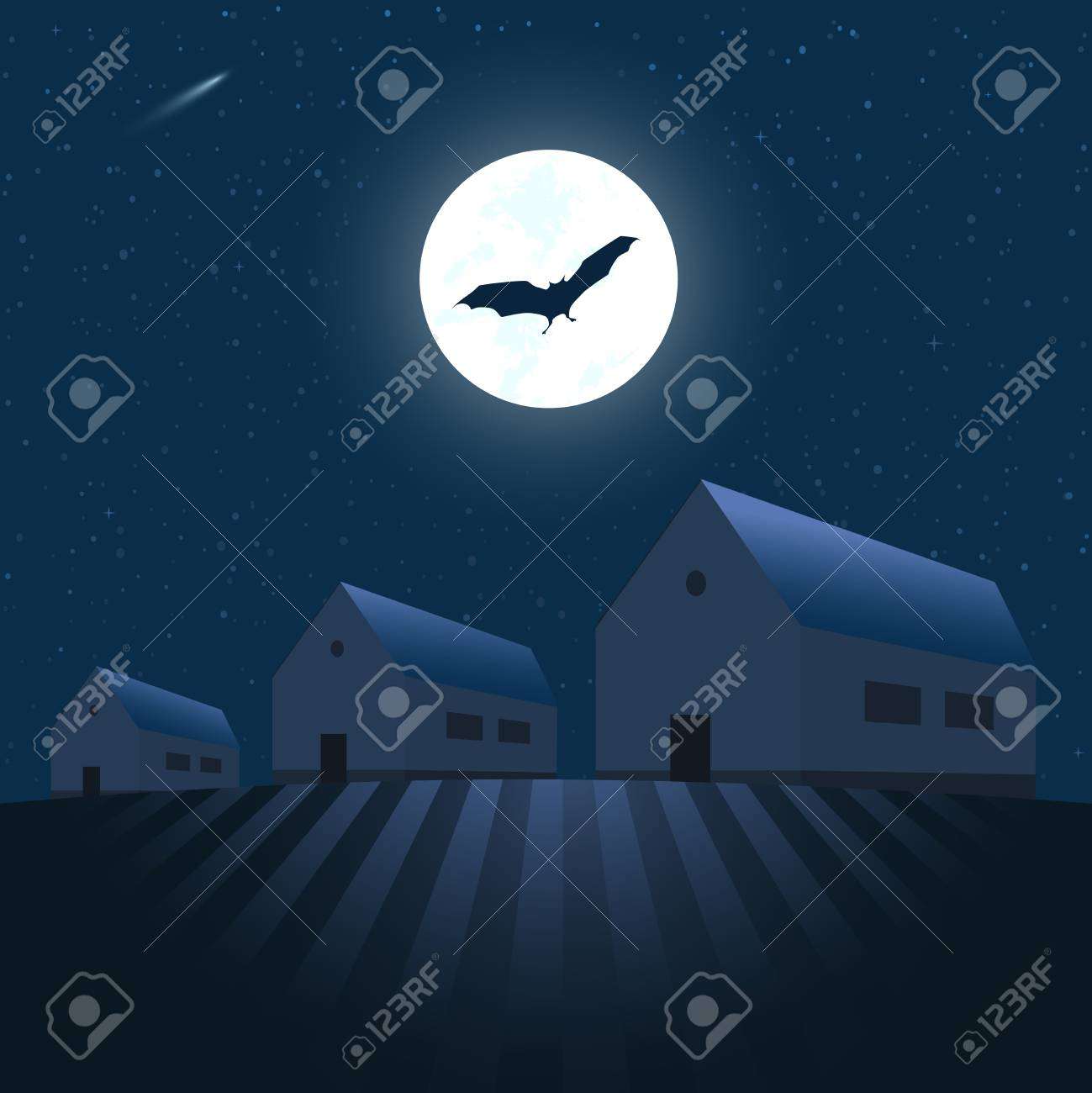 Houses under the stars Stock Vector - 3665184