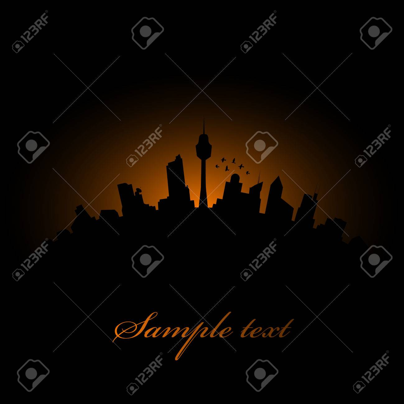 City silhouette at dusk Stock Vector - 4269606