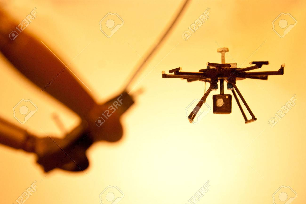 A mannequin using an unmanned system....otherwise known as a 'drone'. - 33064858