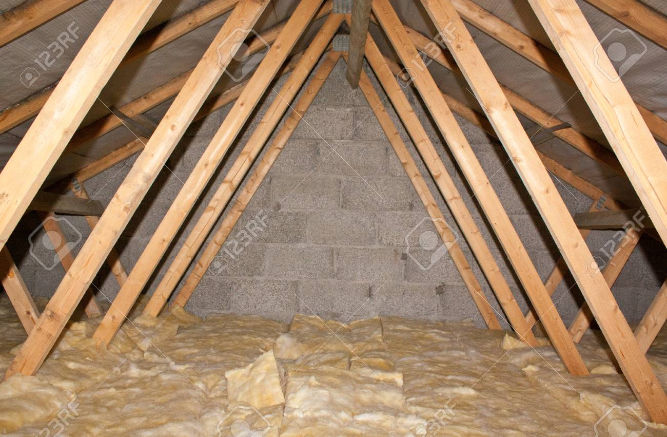 A view of attic insulation within a typical household. - 96116869