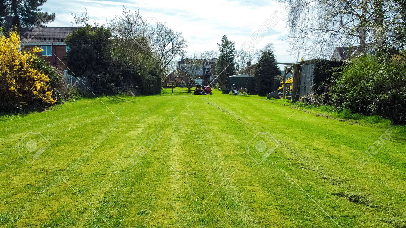 A long garden at the rear of a small property, in England, United Kingdom. - 168149673