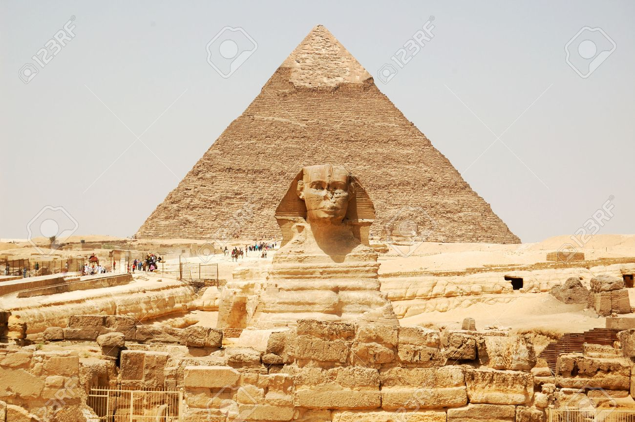 Beautiful Egyptian Pyramid Architecture Spynx Face On The Giza Background Cairo Egypt And Ideas