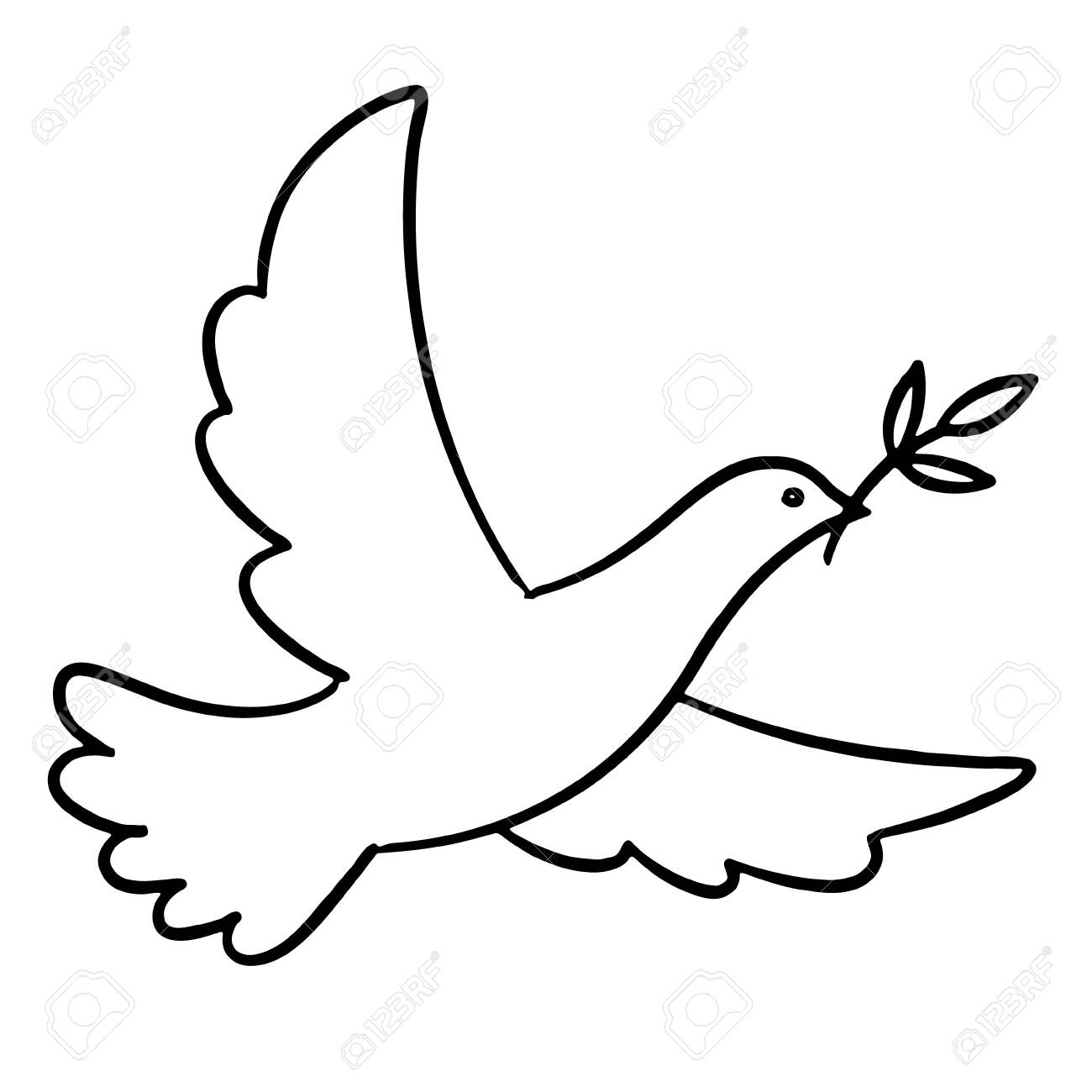 Dove with an olive branch - 153722828