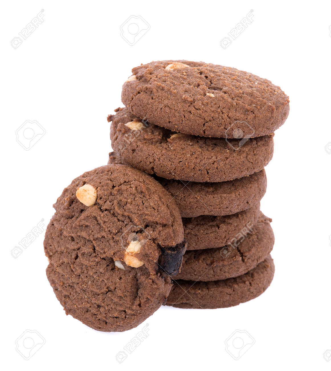 Chocolate chip cookie on white background - 158705421