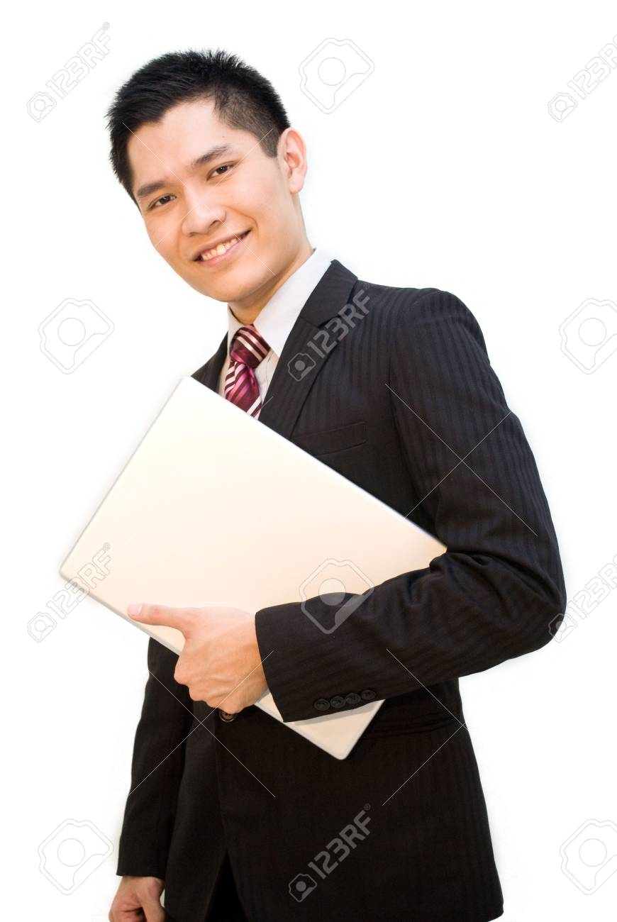 Asian business male carrying laptop Stock Photo - 4969749