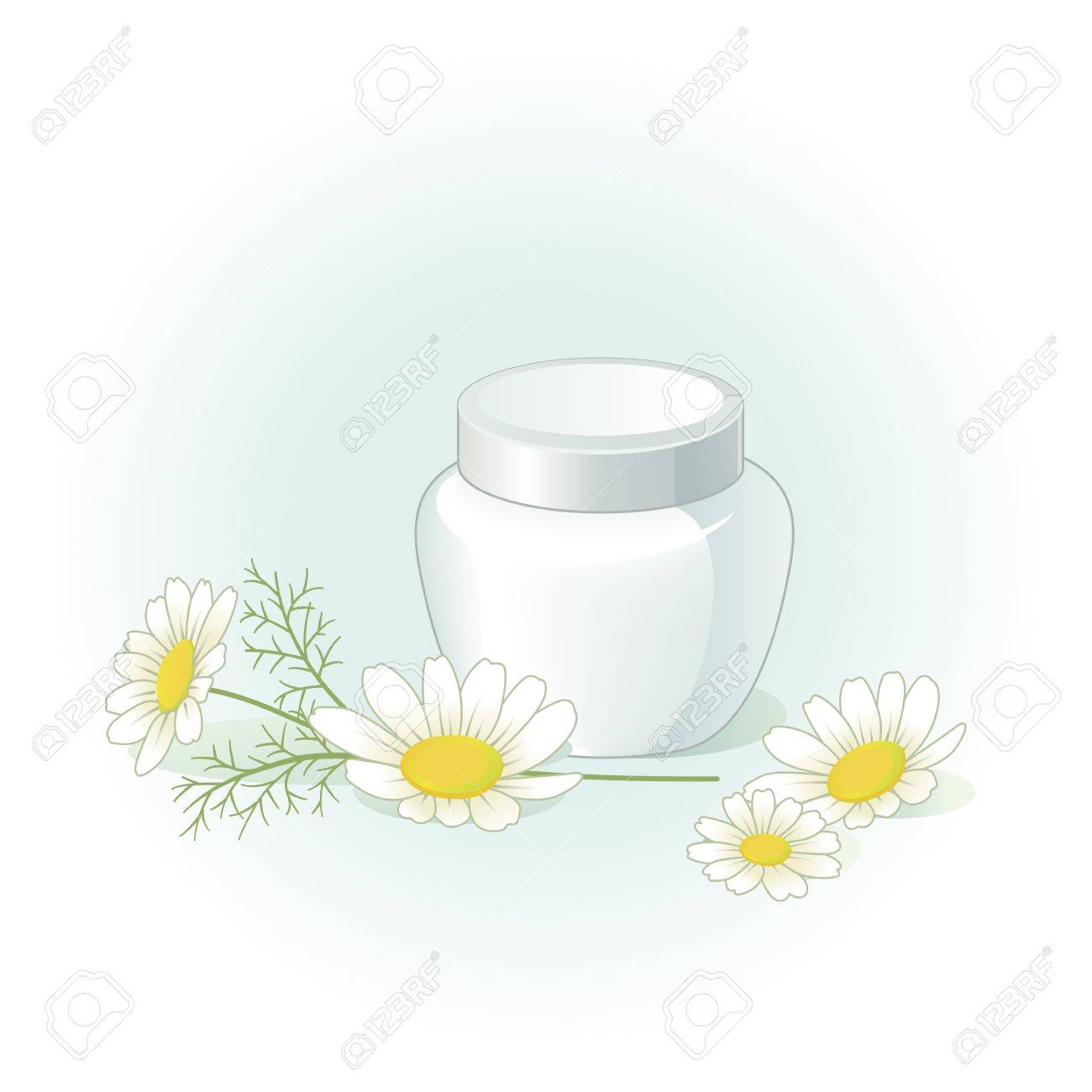 Cream jar and chamomile flowers on the pale green blue background Stock Vector - 15221002