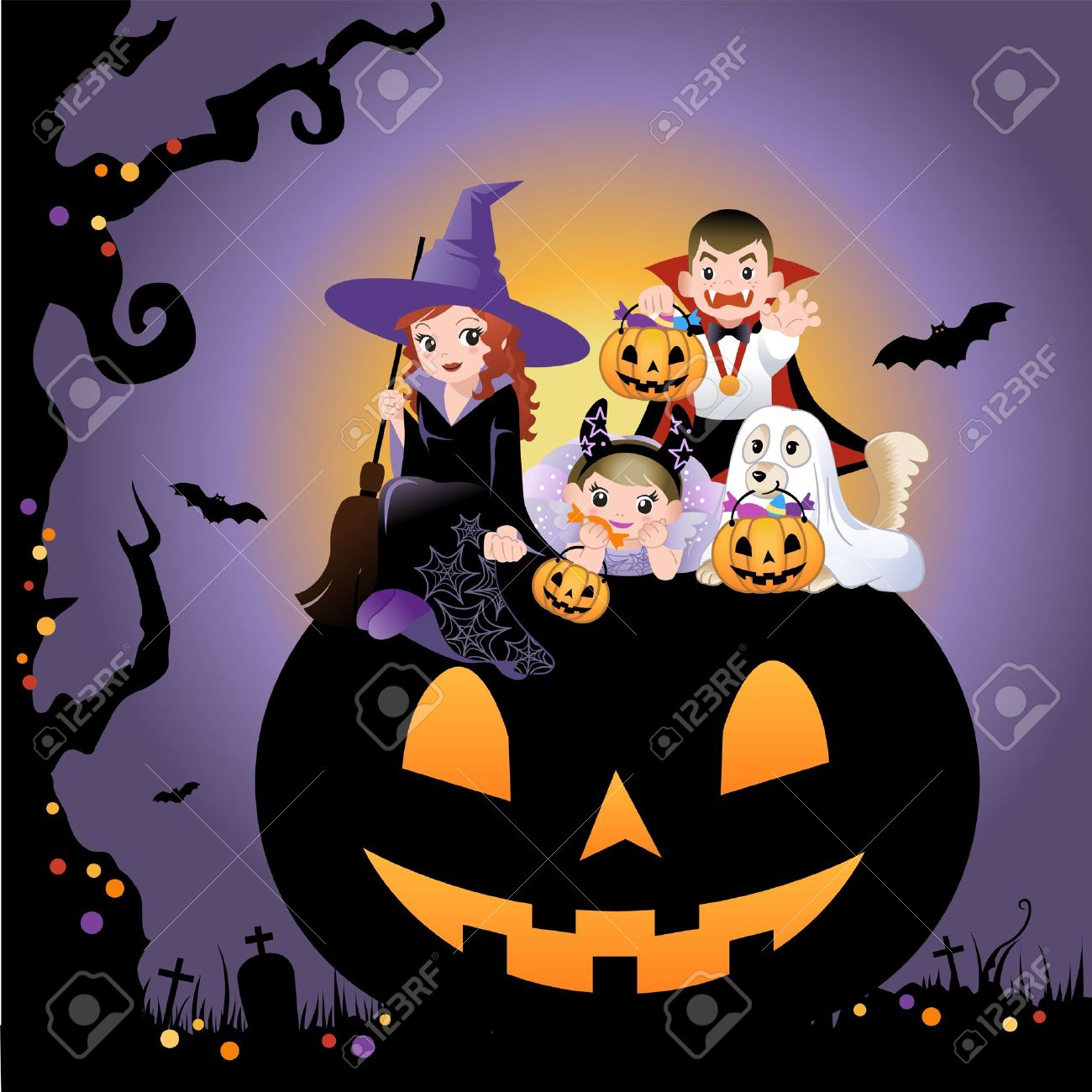 Girls, boy and dog wearing halloween costume on the huge jack-o-lantern Stock Vector - 15230760