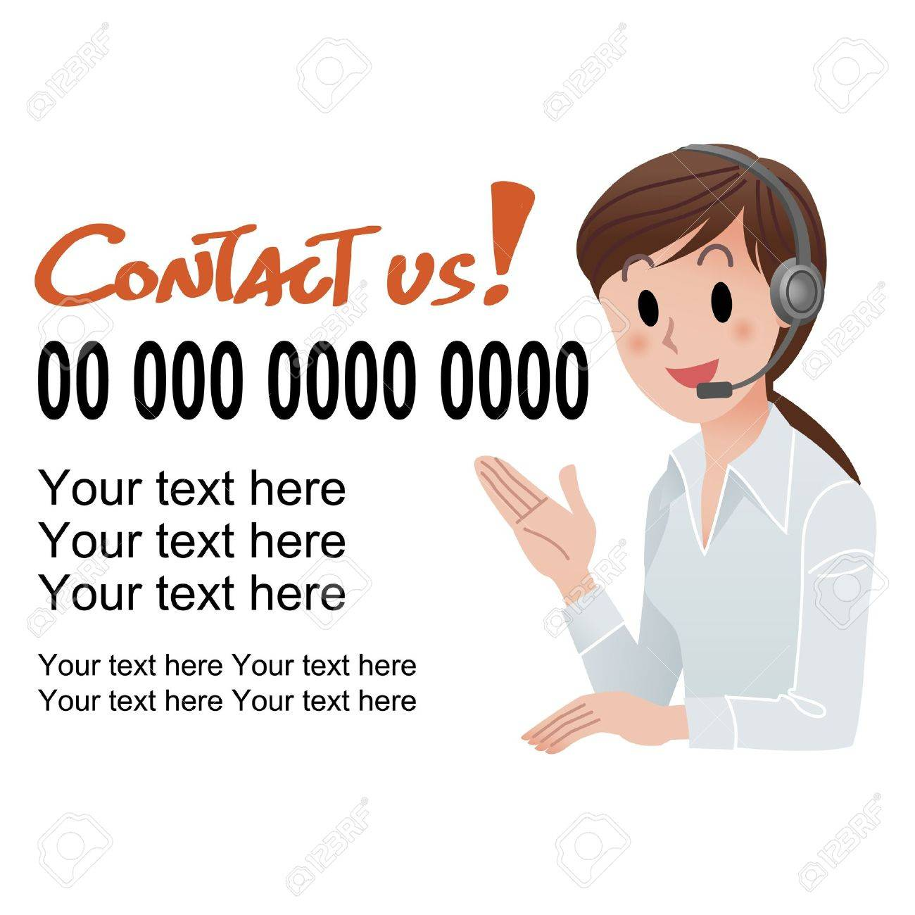illustration of Customer service woman providing contact information in headset, with sample text  isolated on white Stock Vector - 15467697