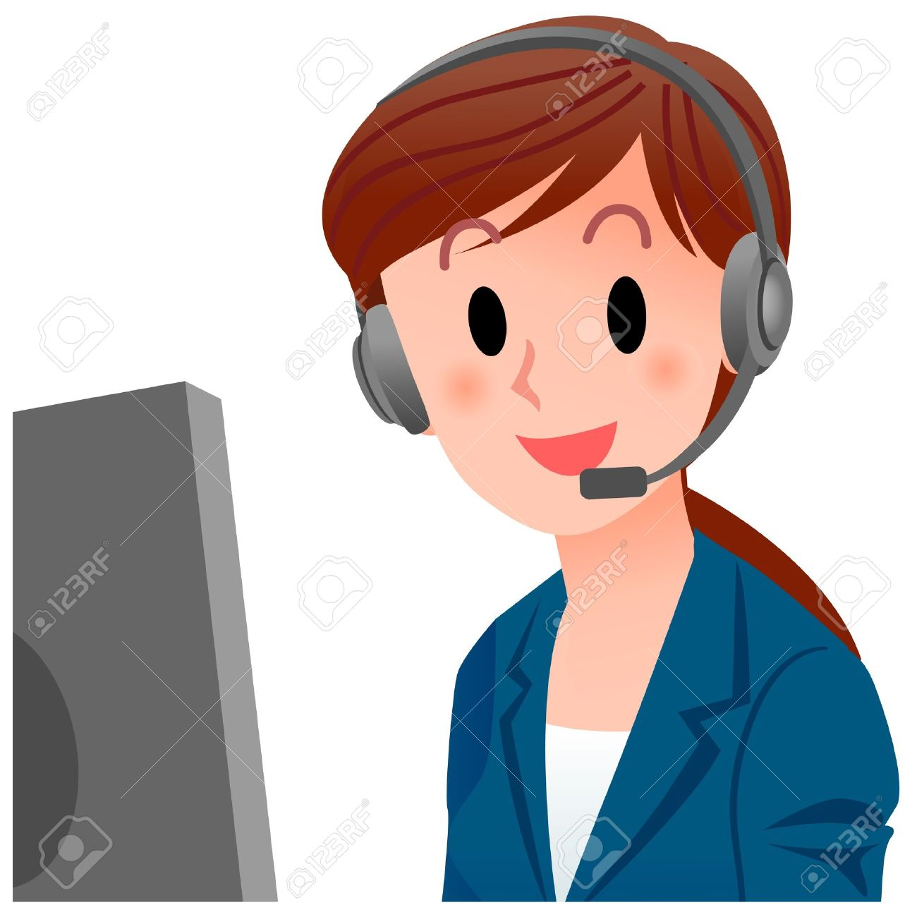 illustration of close up customer service representative smiling rh 123rf com clipart customer satisfaction clipart customer service
