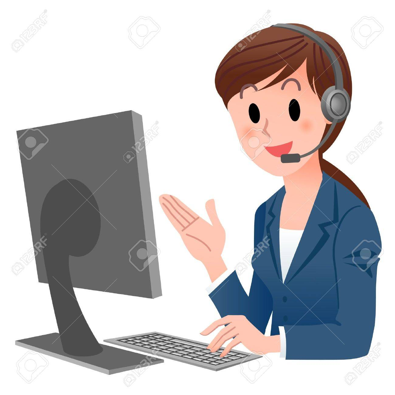 Vector illustration of Customer service representative  at computer in headset  isolated on white Stock Vector - 15539047