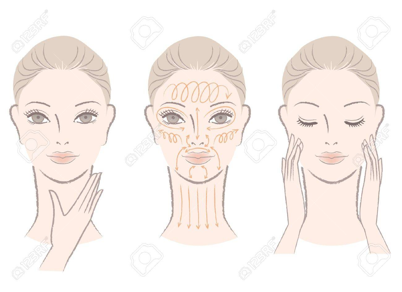 Set of beautiful, elegant woman massaging her face and neck, showing how to with massage lines Stock Vector - 15897608