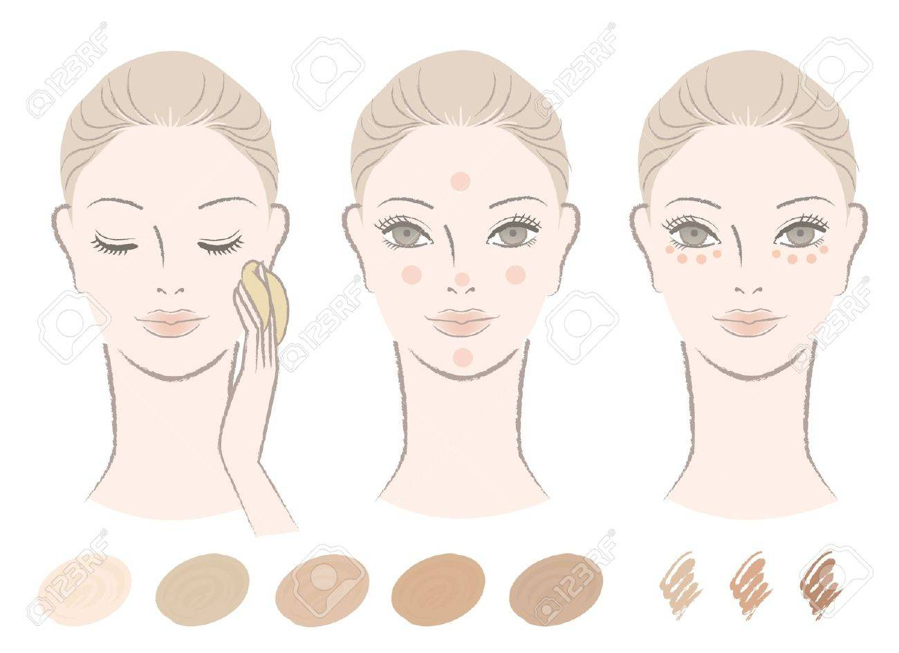 Beautiful Woman And How To Apply Foundation And Concealer With Royalty Free Cliparts Vectors And Stock Illustration Image 15994633