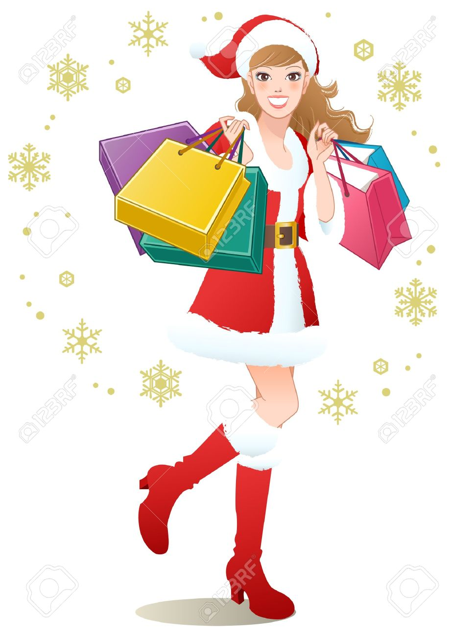 santa girl holding shopping bags on snowflakes christmas shopping rh 123rf com Christmas Shopping Art christmas shopping clipart free