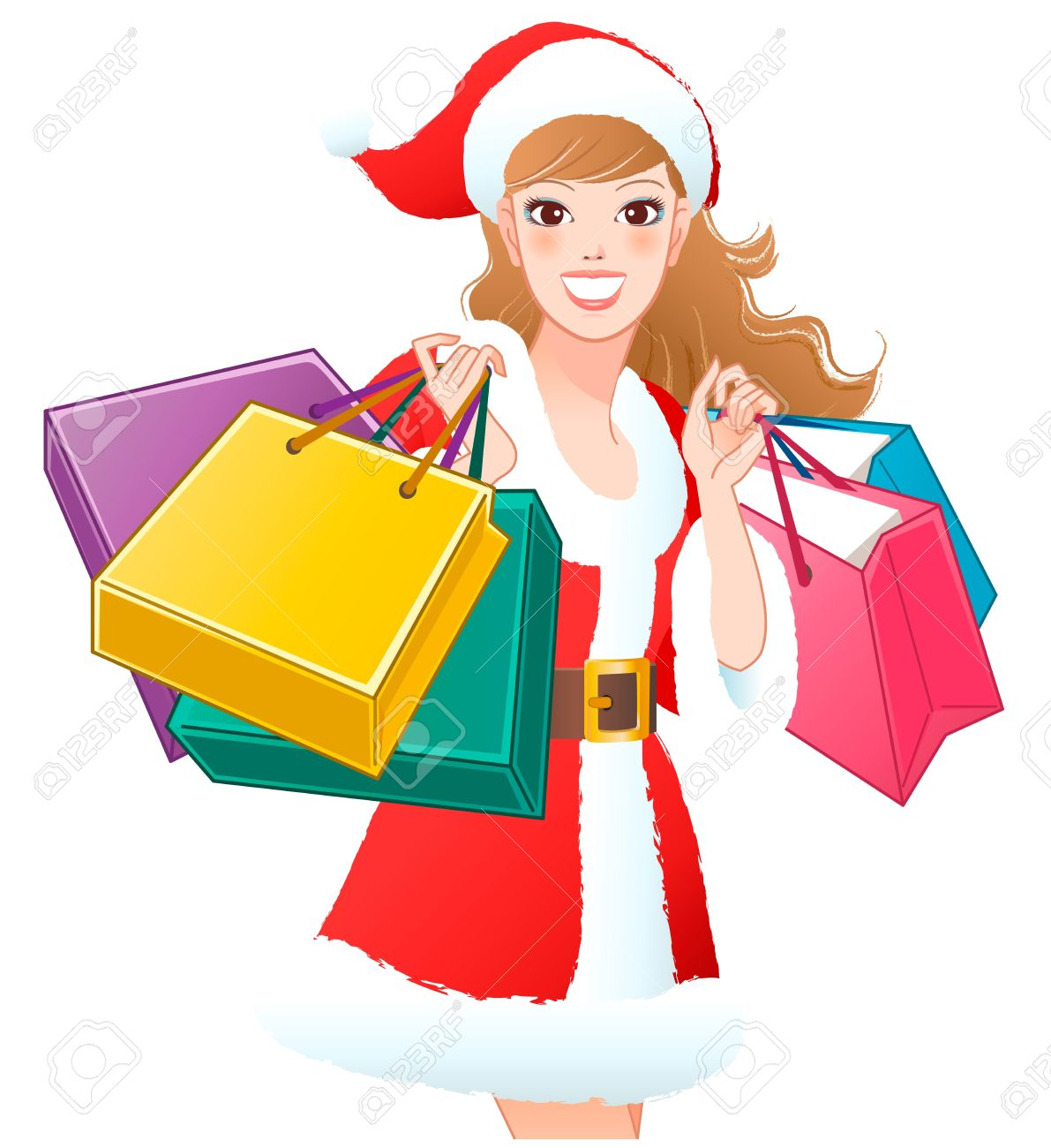 Close Up Santa Girl Shopping Christmas Gifts Cropped White Background Royalty Free Cliparts Vectors And Stock Illustration Image 16248005