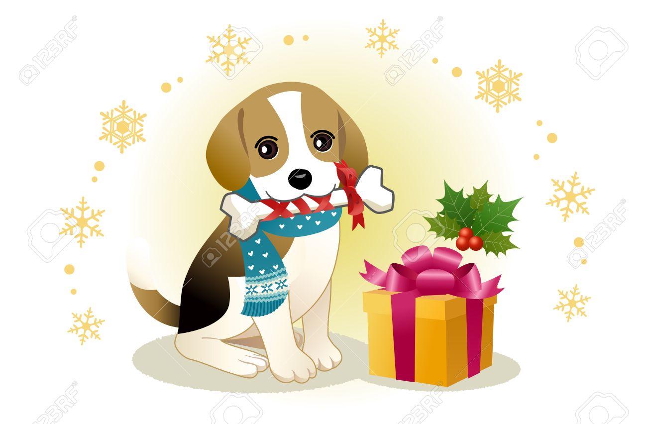 Christmas Beagle Clipart.Beagle Dog Biting Ribboned Bone With Christmas Present Box