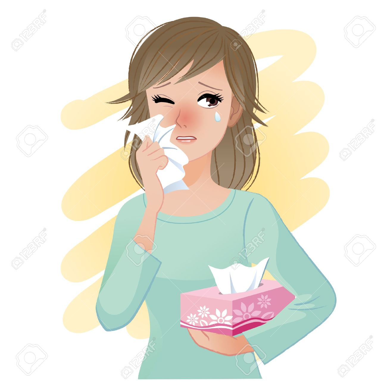 Watery eyed woman hodling facial tissue box Stock Vector - 17549207