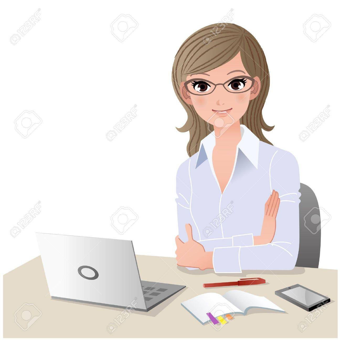 Young woman wearing glasses at desk with laptop computer and mobile phone  Copy space Gradient, Blending tool is used Stock Vector - 17688022
