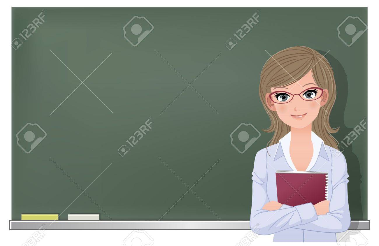 Cute female school teacher holding spiral notebook at blackboard in classroom  File contains Gradient mesh, Gradients, Transparency Stock Vector - 19291278
