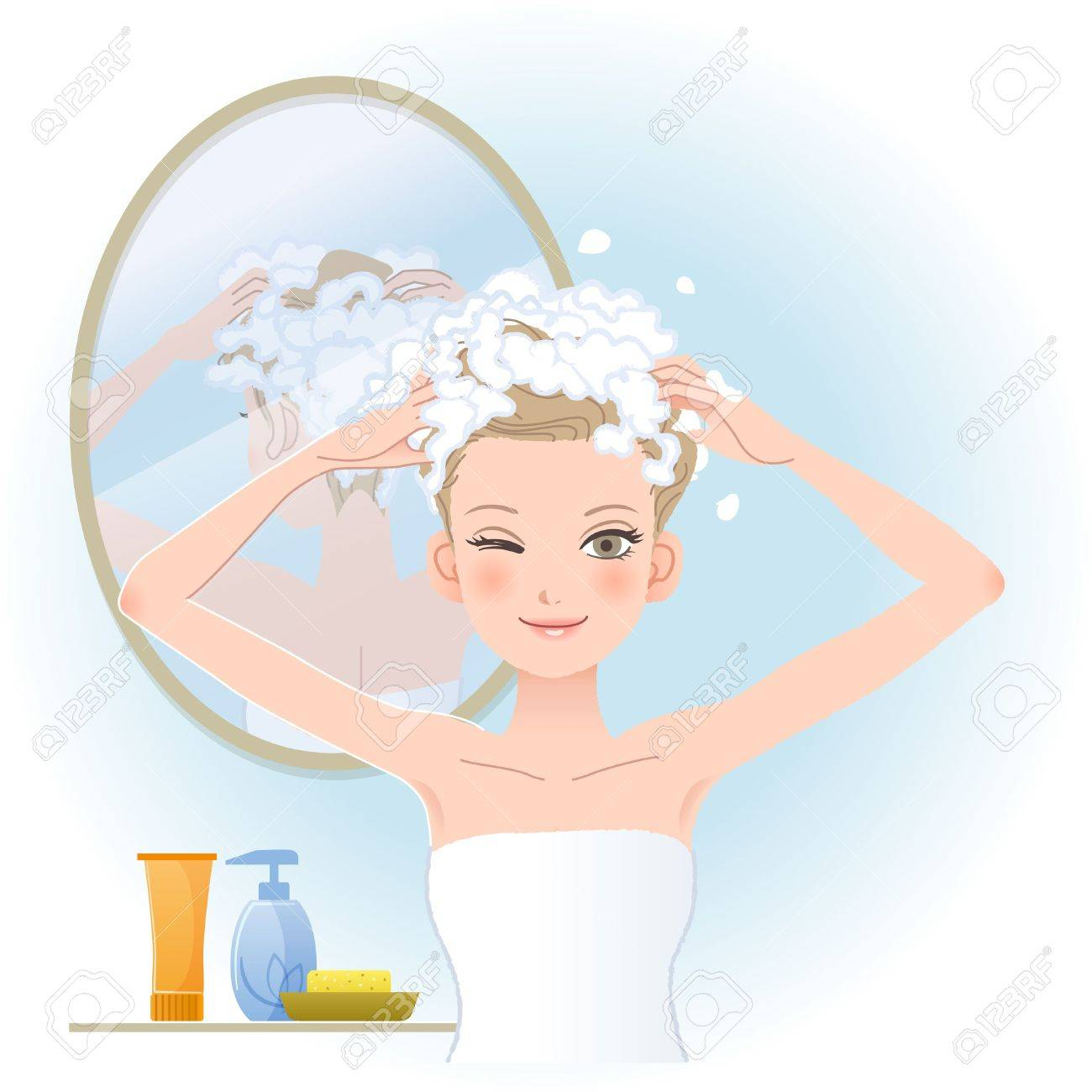 Pretty Woman Soaping Her Head With Mirror On The Back In Bathroom