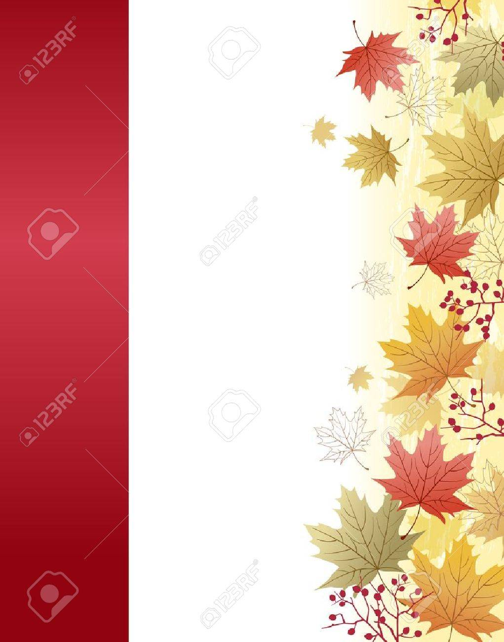 Autumn Maple leaves background with red ribbon bar.File contains Clipping  mask with un-