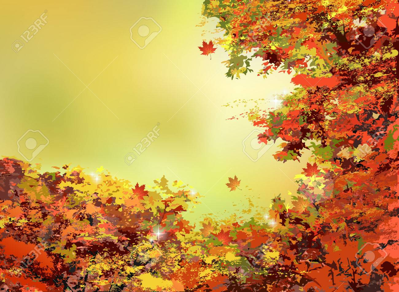 autumn scenery background with yellow, orange, red leaves and