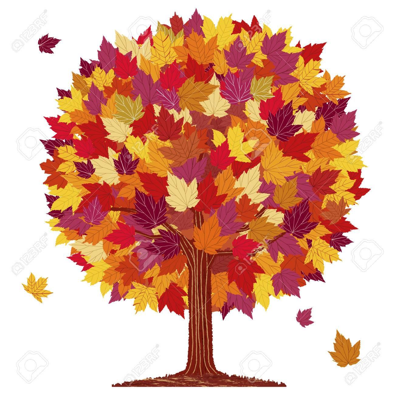 automne isolé feuille rouge arbre balle sur fond blanc. clip art