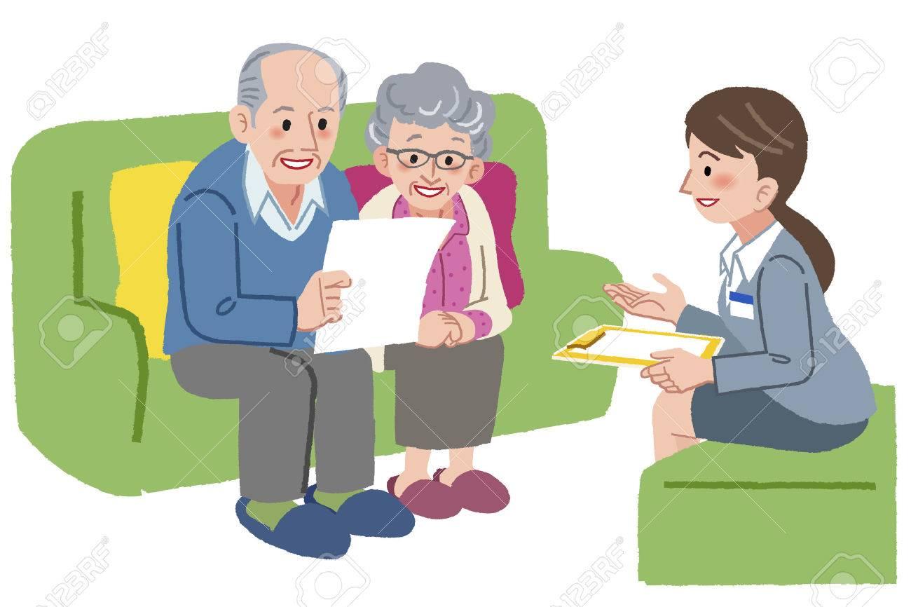 高齢者介護を相談老夫婦の笑顔 ロイヤリティフリークリップアート