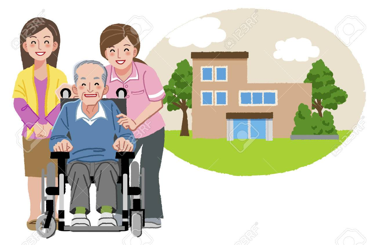 happy elderly man in wheelchair with his family and nurse and rh 123rf com free nursing home clipart nursing home week 2017 clipart