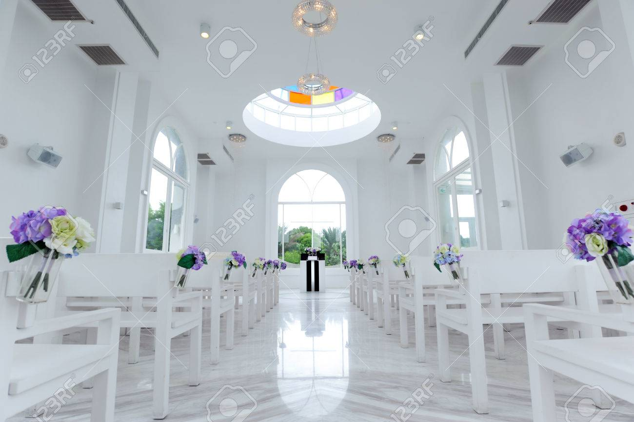 Beautiful Wedding Decoration In White Church Stock Photo, Picture ...