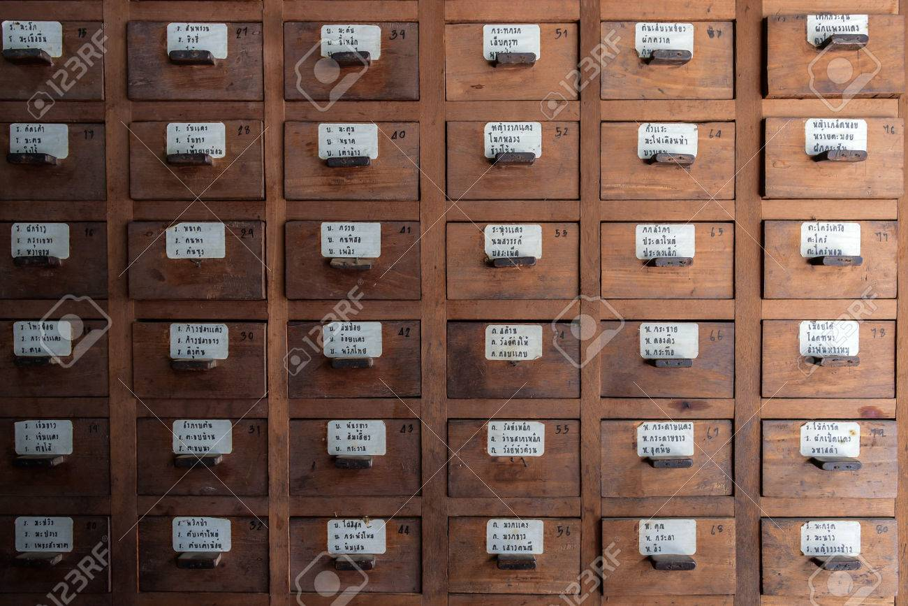 Vintage Chinese Medicine Wood Cabinet And List Name Of Thai Herb ...
