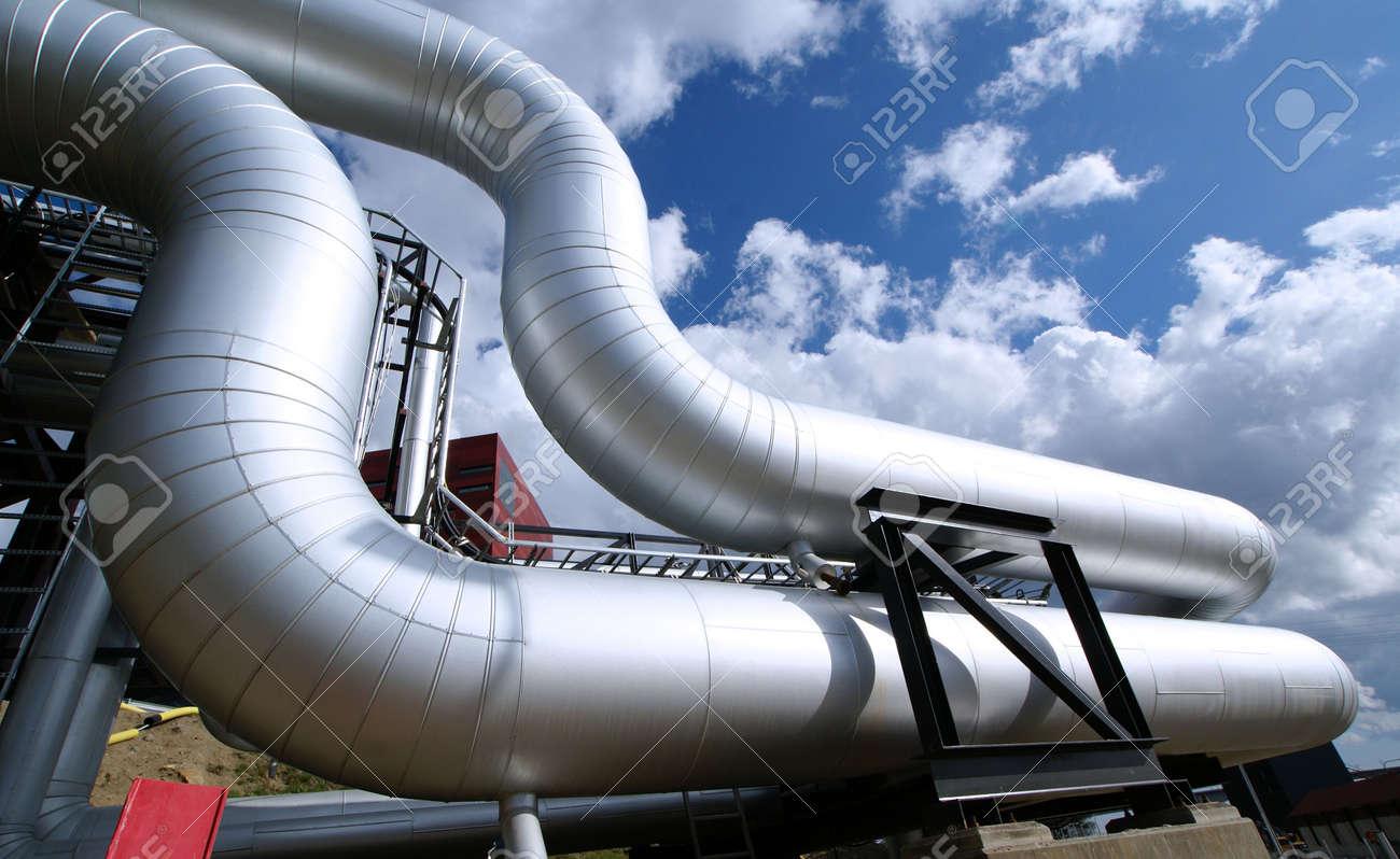 Industrial zone, Steel pipelines on blue sky Stock Photo - 7265018