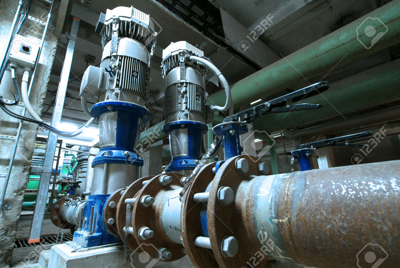 Equipment, cables and piping as found inside of  industrial power plant Stock Photo - 14571811