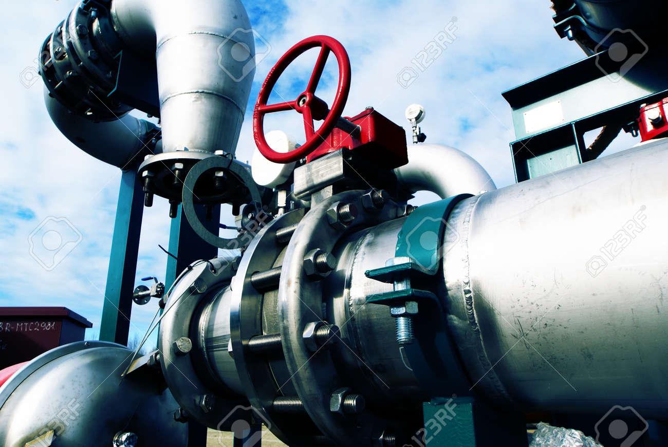 Industrial zone, Steel pipelines in blue tones Stock Photo - 15285721