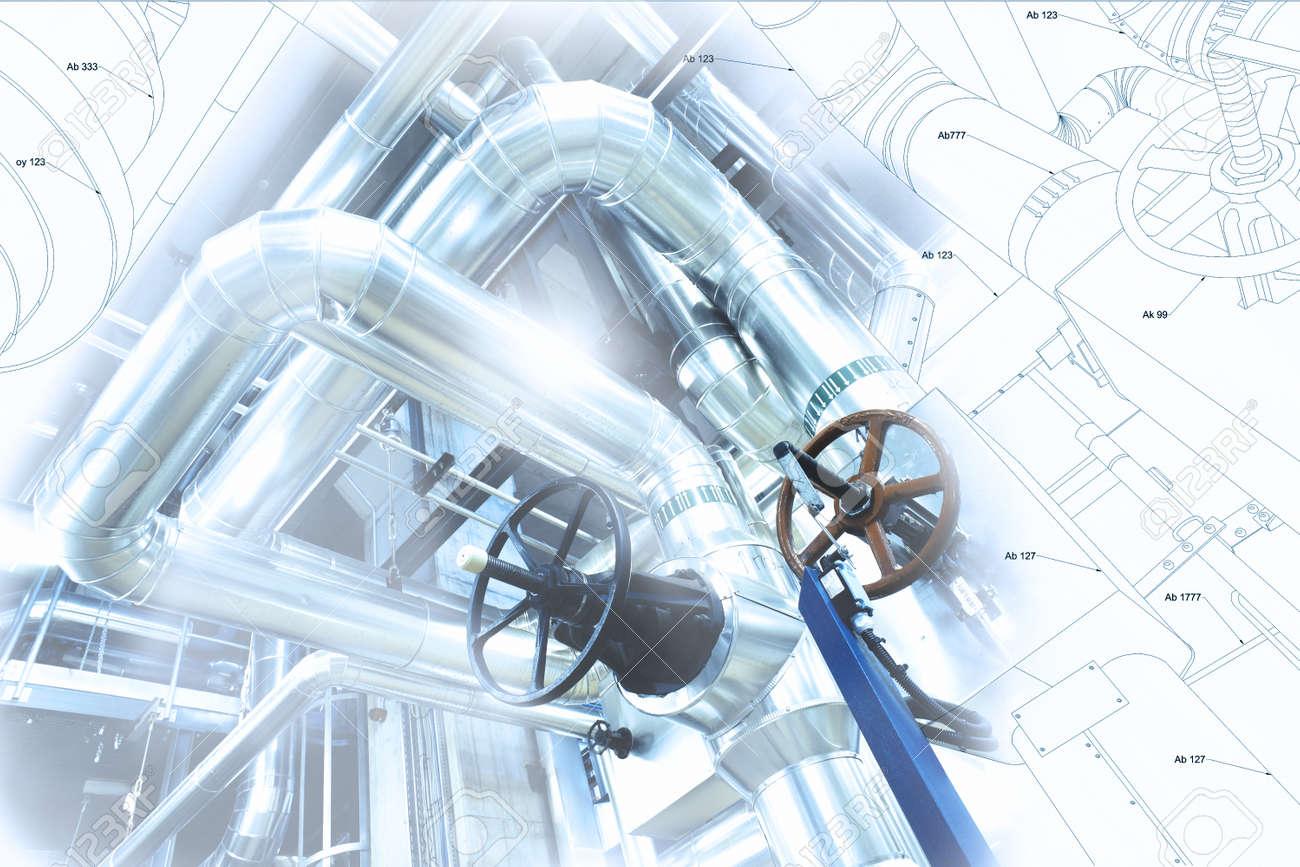 Croquis De Conception De Tuyauterie Industrielle Mélangé Avec Photo De Léquipement