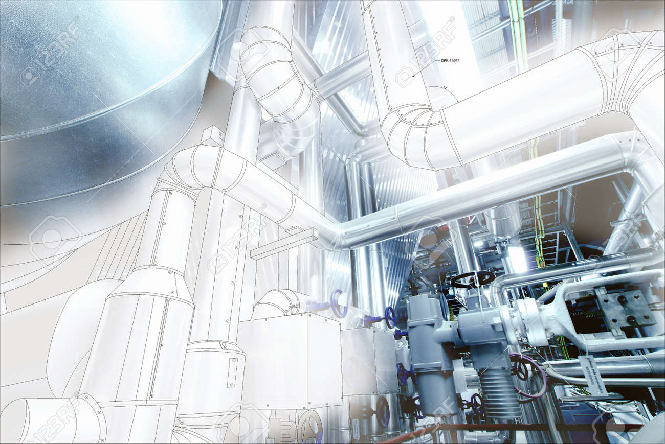 Croquis De La Conception De Tuyauterie Industrielle Mélangé Avec De Léquipement Photo